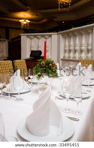 Table setting with plates and silverware