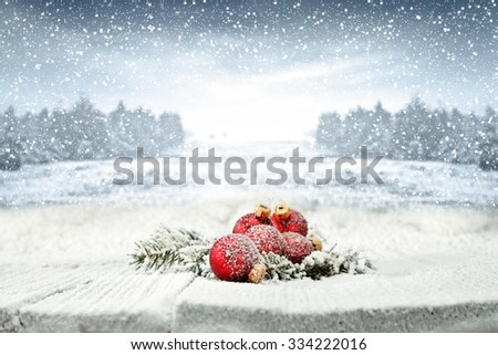 table snow and few balls  - stock photo