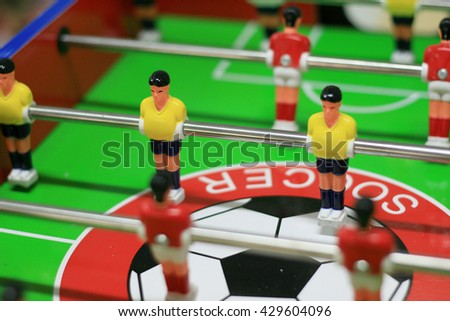 Table soccer game, with soft and selective focus