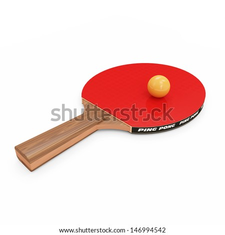 Table Tennis Racket and ball isolated on white background - stock photo