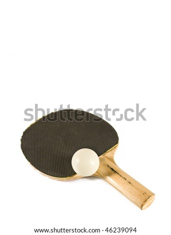 Table tennis racket with ping pong ball isolated on white - stock photo