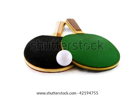 Table tennis rackets and ball isolated on white background - stock photo