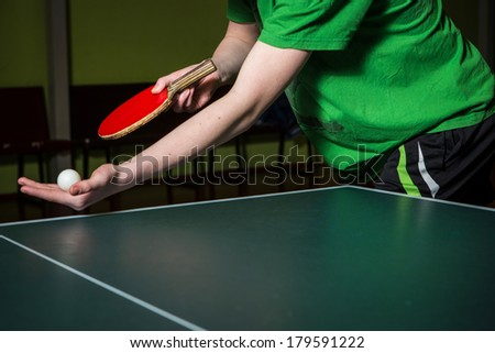 table tennis service - stock photo