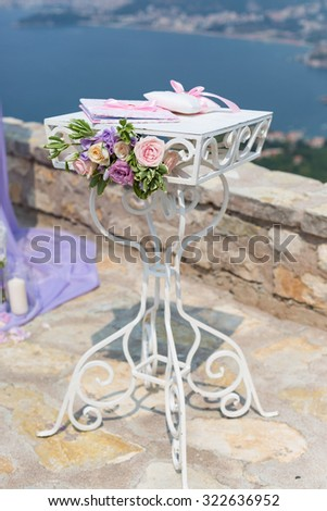 table to sign a contract for the wedding ceremony - stock photo