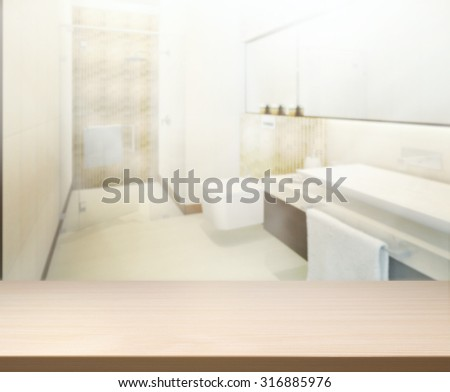 Table Top And Blur Interior of the Background - stock photo