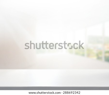 Table Top And Blur Office Of Background - stock photo