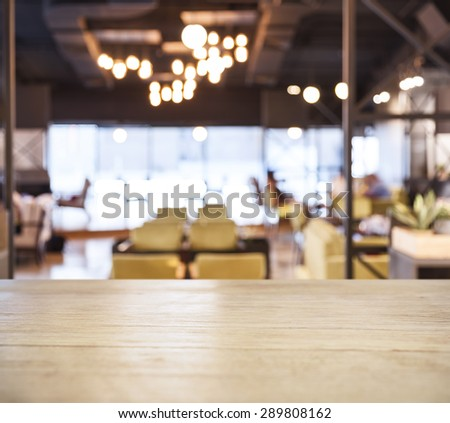 Table top counter Bar Blurred Cafe Restaurant background - stock photo