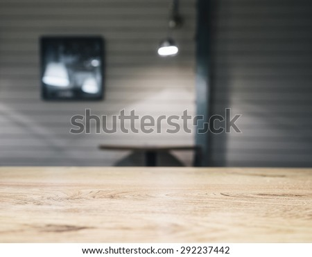 Table top Counter Bar with pub restaurant interior background - stock photo