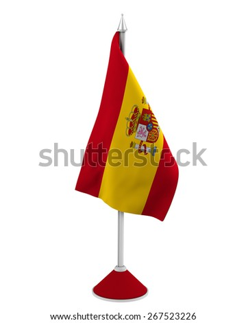 Table-top flag of Spain isolated on white - stock photo