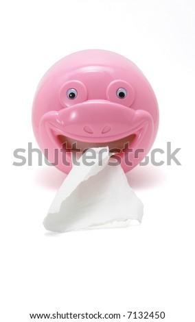 Table top plastic toilet roll dispenser - stock photo
