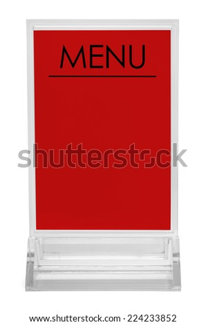 Table Top Upright Plastic Menu Sign Isolated on White Background. - stock photo