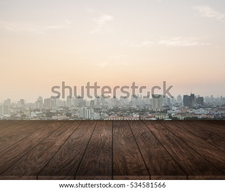 Table top with City Background