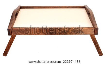 Table tray for breakfast in bed - stock photo