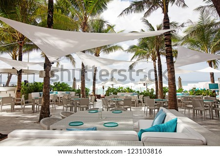 Table with a beautiful sea view. Thailand. - stock photo
