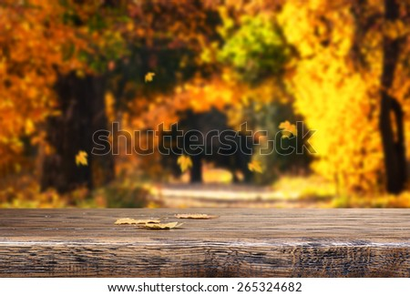 Table with autumn leaves on natural background - stock photo