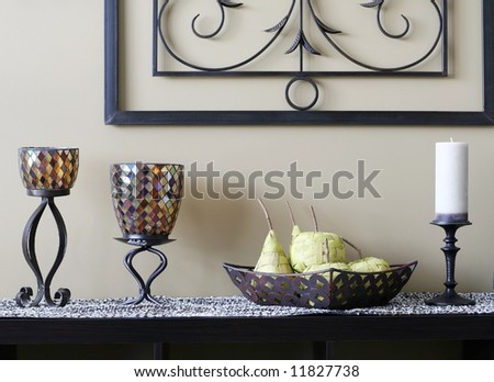 Table with decorative items - stock photo