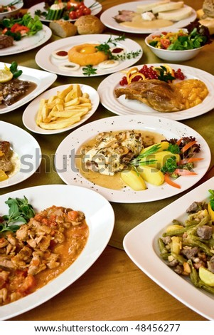 Table with delicious czech food - stock photo