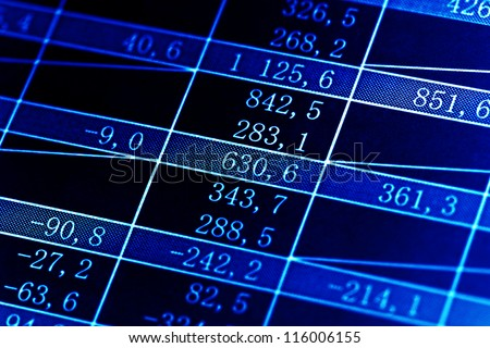 Table with finance data. Macro image.