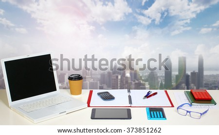 Table with office objects. - stock photo