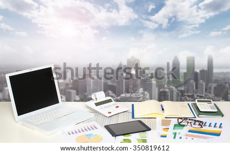 Table with office objects. Accounting and financial concept. - stock photo
