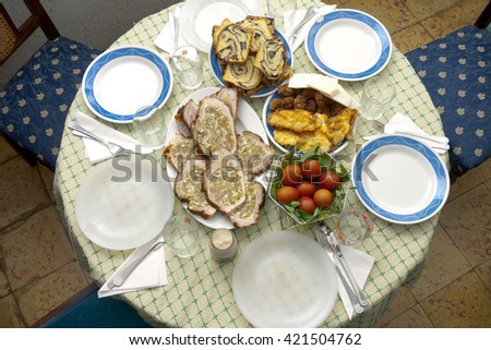 Table with romanian food in Saint Week