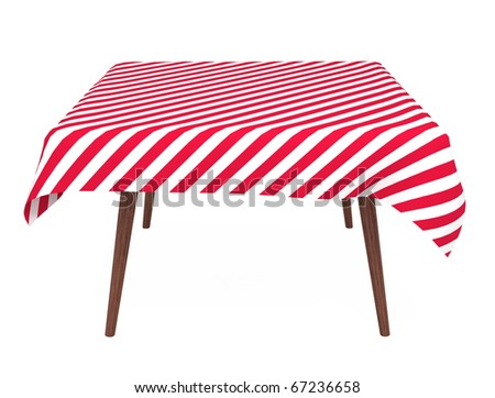 Table with striped tablecloth, front view, isolated on white, with clipping path - stock photo