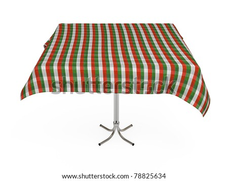 Table with stripped cloth, green, red and white colors, isolated on white, with clipping path - stock photo