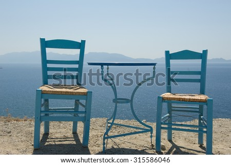 Table with two chairs outdoor