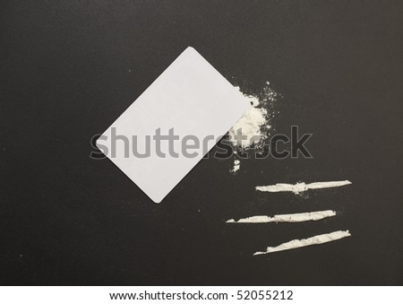 Tableau of drugs :cocaine, cocaine lines, card - stock photo