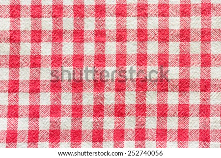 Tablecloth checkered red and white texture background - stock photo