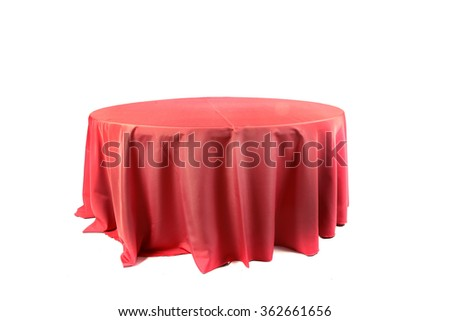 Tablecloth on table isolated on white background - stock photo