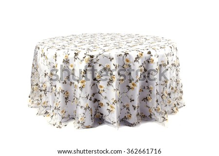 Tablecloth on table isolated on white background