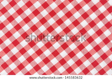 Tablecloth red and white diagonal texture background, high detailed  - stock photo