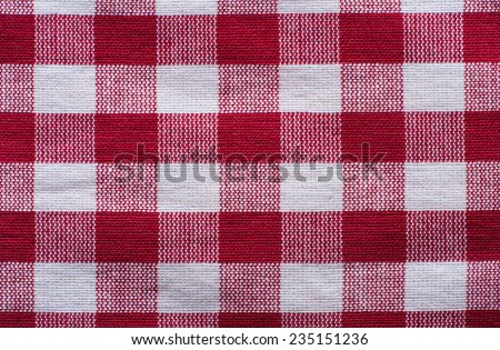 tablecloth texture red checkered fabric closeup - stock photo