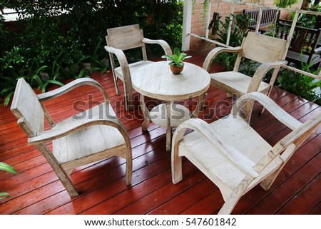 tables and chairs in the garden at hometime relax