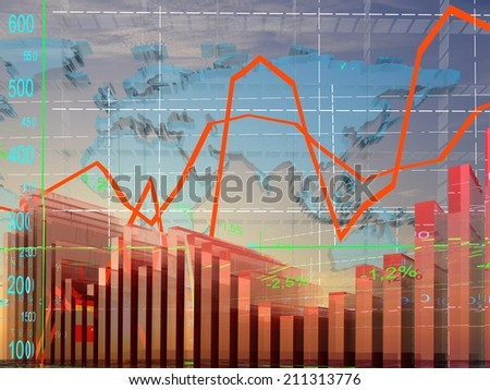 Tables and charts currency exchange rates.