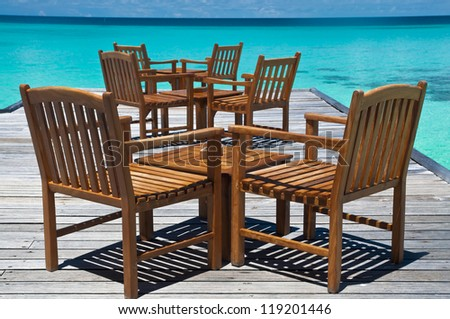 Tables at a beach bar