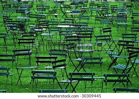 Tables & Chairs - Rainy day - stock photo