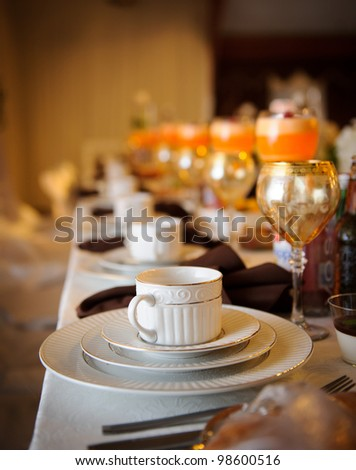 Tables decorated at the Wedding Reception - stock photo