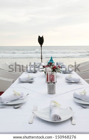 Tables decorated for a wedding reception. - stock photo