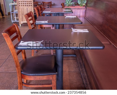 Tables in restaurant - stock photo