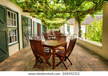 Tables on terrace covered by grape vine. Shot near Stellenbosch and Cape Town, South Africa.