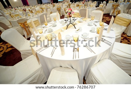 Tables set for an event - stock photo