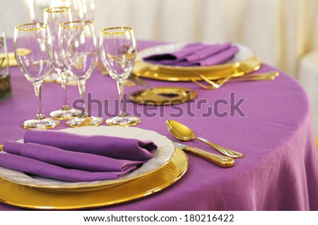 Tables setting in restaurant - stock photo