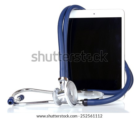 Tablet and blue stethoscope isolated on white - stock photo
