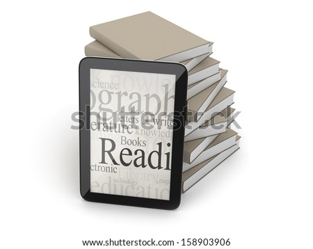 Tablet and books - stock photo