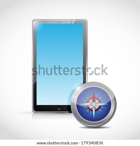 tablet and concept illustration design over a white background - stock photo
