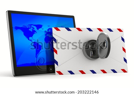 tablet and envelope on white background. Isolated 3D image - stock photo