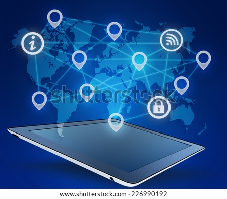 tablet and icons connect network on world map