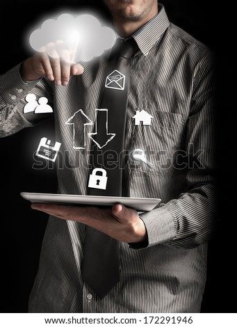 Tablet and work in the cloud - stock photo
